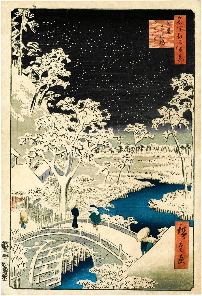 / Utagawa Hiroshige. Most Taikobashi i wzgórze Yuhinooka w Meguro, 1857. Muzeum Narodowe w Warszawie  drzeworyt barwny, nishiki-e 35,4 × 24 cm