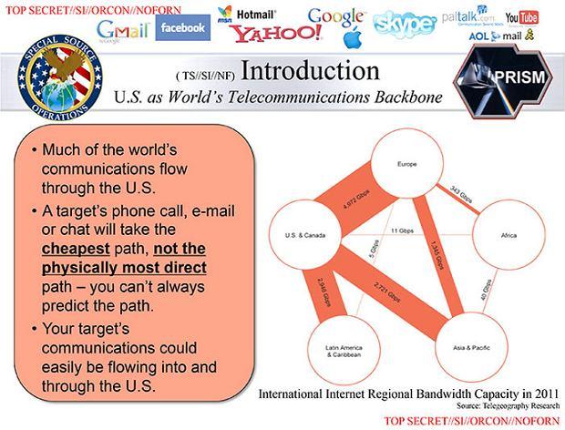 Slajd z prezentacji na temat PRISM pokazuj�cy przep�yw danych na �wiecie