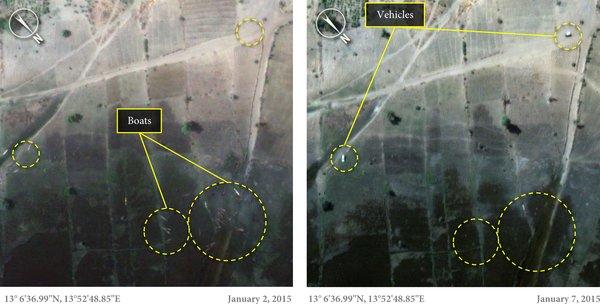 Miejscowo�� Baga przed i po masakrze Boko Haram. Zdj�cia satelitarne pokazuj� skal� zniszcze�