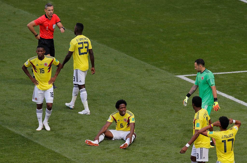 Carlos Sanchez (siedzi) podczas meczu Kolumbia Japonia. Mistrzostwa świata w piłce nożnej w Rosji. Sarańsk, 19 czerwca 2018