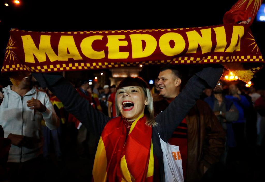Zwolennicy bojkotu referendum w sprawie zmiany nazwy przez Macedonię, Skopje, 30 września 2018.