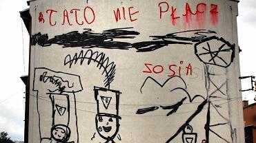 Mural z rysunkiem 5-letniej Zosi wykonany przez Łukasza Surowca