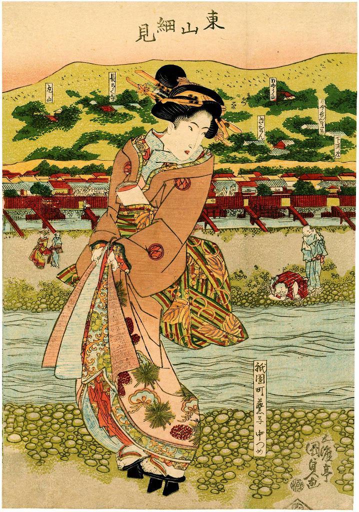/ Utagawa Kunisada. Kurtyzany spacerujące brzegiem rzeki Shijogawara w Kioto. Muzeum Narodowe w Warszawie