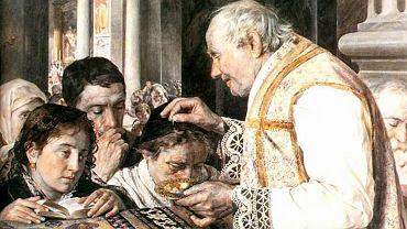 'Popielec' - obraz Juliana Fałata z 1881 r. Rytuał posypywania głów popiołem przez pokutników znany jest co najmniej od VIII w., gdy zaczęto go odprawiać w rzymskich kościołach. Najpewniej pod koniec XI w. papież Urban II postanowił zinstytucjonalizować tę praktykę w całym zachodnim Kościele. Odtąd w środę rozpoczynającą Wielki Post posypywano głowy popiołem wszystkim wiernym zgromadzonym w świątyniach.