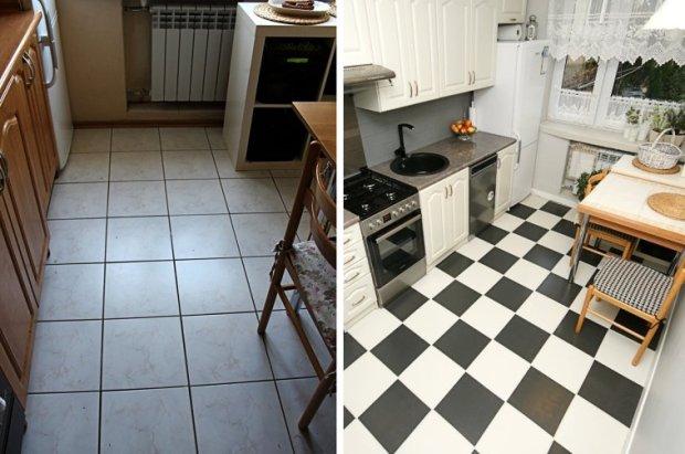Malowanie płytek w kuchni. Przed i po