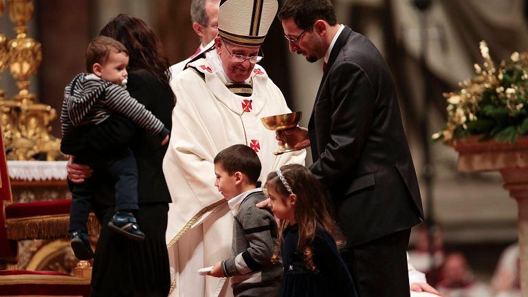 Papież Franciszek podczas swojej pierwszej pasterki