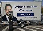 Laweta z billboardem Patryka Jakiego