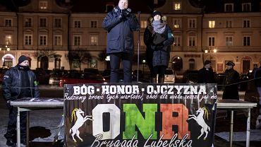 Marzec 2018, Lublin. Przemysław Czarnek, wojewoda lubelski podczas Marszu Pamięci Żołnierzy Wyklętych zorganizowanym przez środowiska prawicowe
