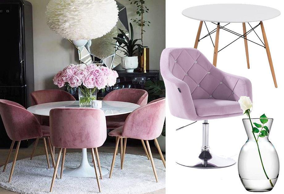 Różowe krzesła do jadalni