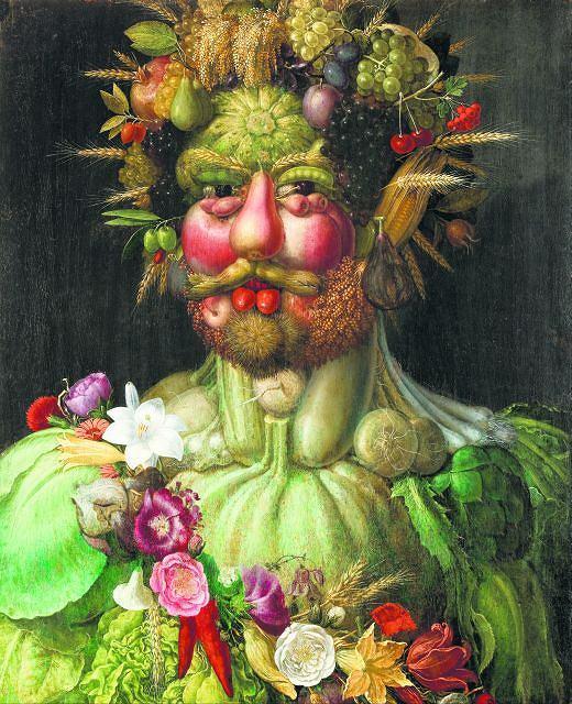 Rudolf II jako Wertumnus, rzymski bóg przemian, dojrzewania i pór roku. Portret namalował włoski malarz Giuseppe Arcimboldo (1527-93). Arcimboldo tworzył fantastyczne wizerunki ludzi składające się z różnych przedmiotów - owoców, warzyw, ryb, książek