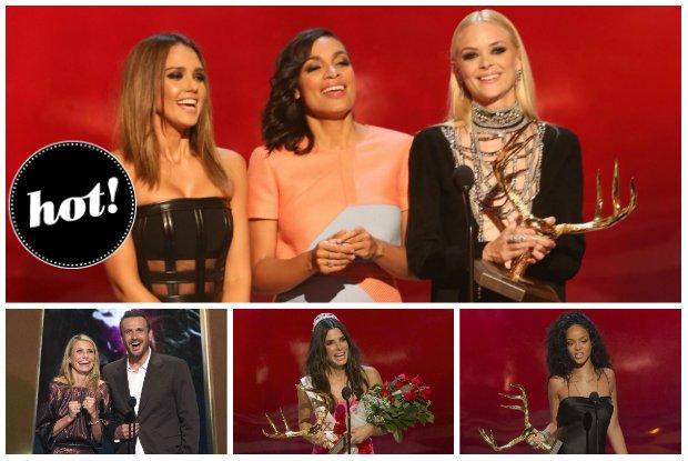 Seksowna Jessica Alba, Rihanna wyj�tkowo w pe�ni ubrana, stylowa Jaime King oraz Sandra Bullock, Cameron Diaz i inne gwiazdy na gali Guys Choice Awards