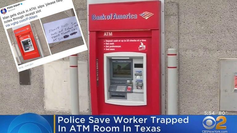 Bankomat, w którym zatrzasnął się pechowiec