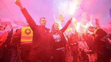 'Marsz Niepodległości' organizowany przez skrajnych prawicowców. Warszawa, 11.11.2017