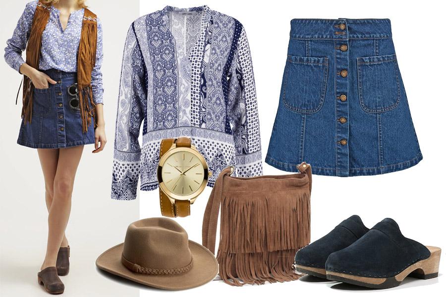 spódnica jeansowa w stylu hippie / zalando.pl / materiały partnera