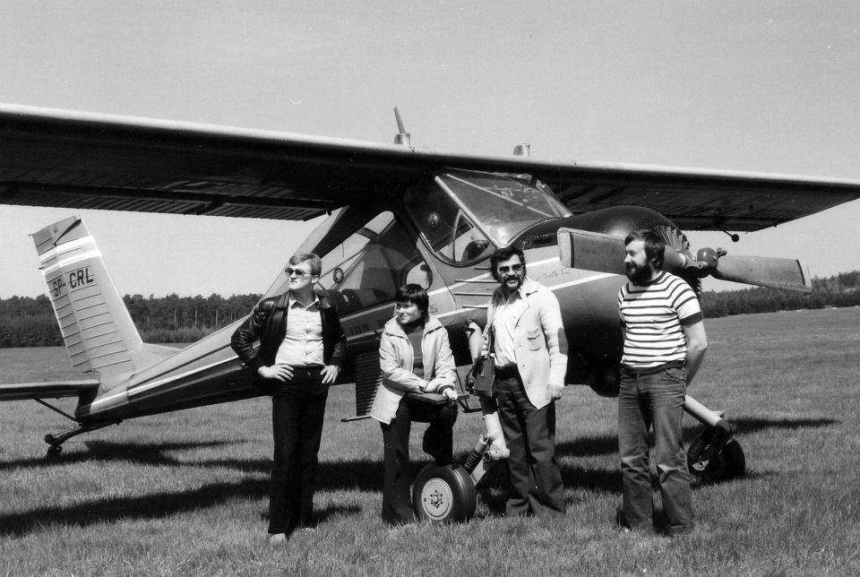 Przylep k. Zielonej Góry lata 80 XX wieku. Pierwszy z prawej pilot Jan Zytka