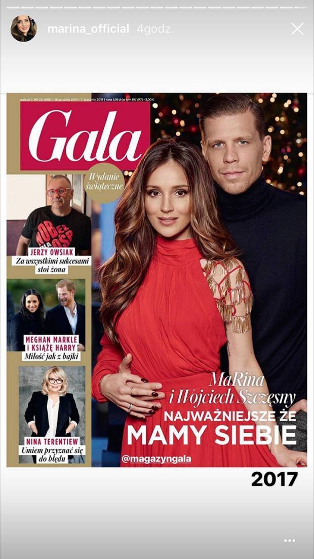 Marina na okładce magazynu Gala z Wojciechem Szczęsnym w 2017 roku