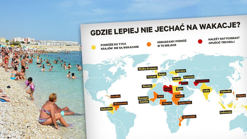 MSZ ostrzega, gdzie w tym roku lepiej nie jechać na wakacje