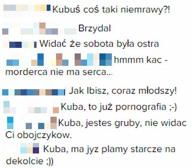 Komentarze fanów na Instagramie Kuby Wojewódzkiego