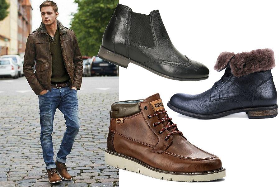 Buty zimowe męskie skórzane