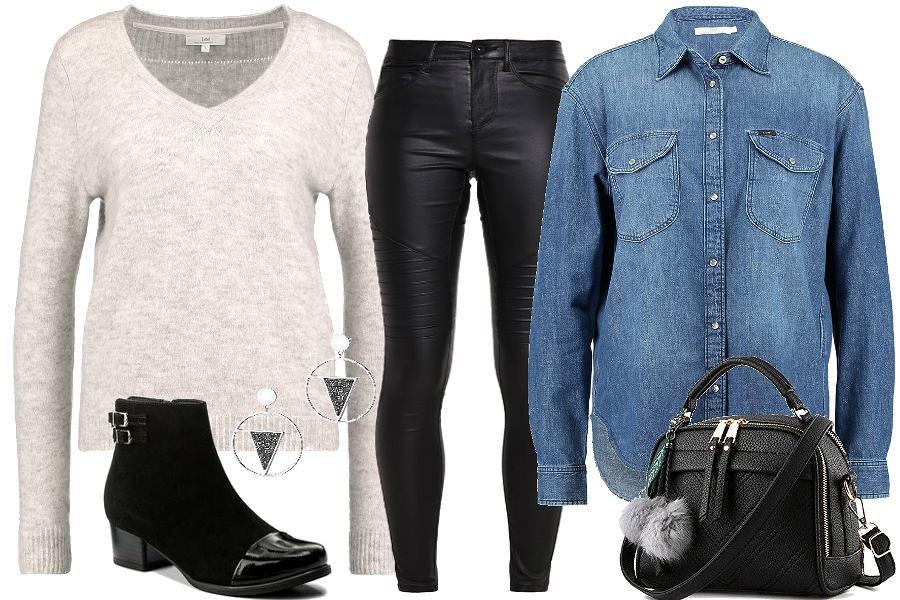 Warstwy - jeans i wełna