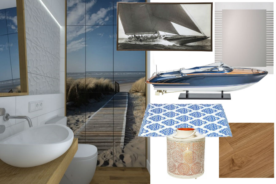 dodatki, łazienka, lato, styl morski, styl marynistyczny