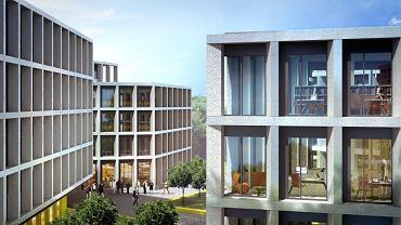 Trzy biurowce Echo Investment powstaną przy łukowato wygiętym przedłużeniu ul. Bobrowieckiej. Pomiędzy nimi urządzone zostaną otwarte dziedzińce