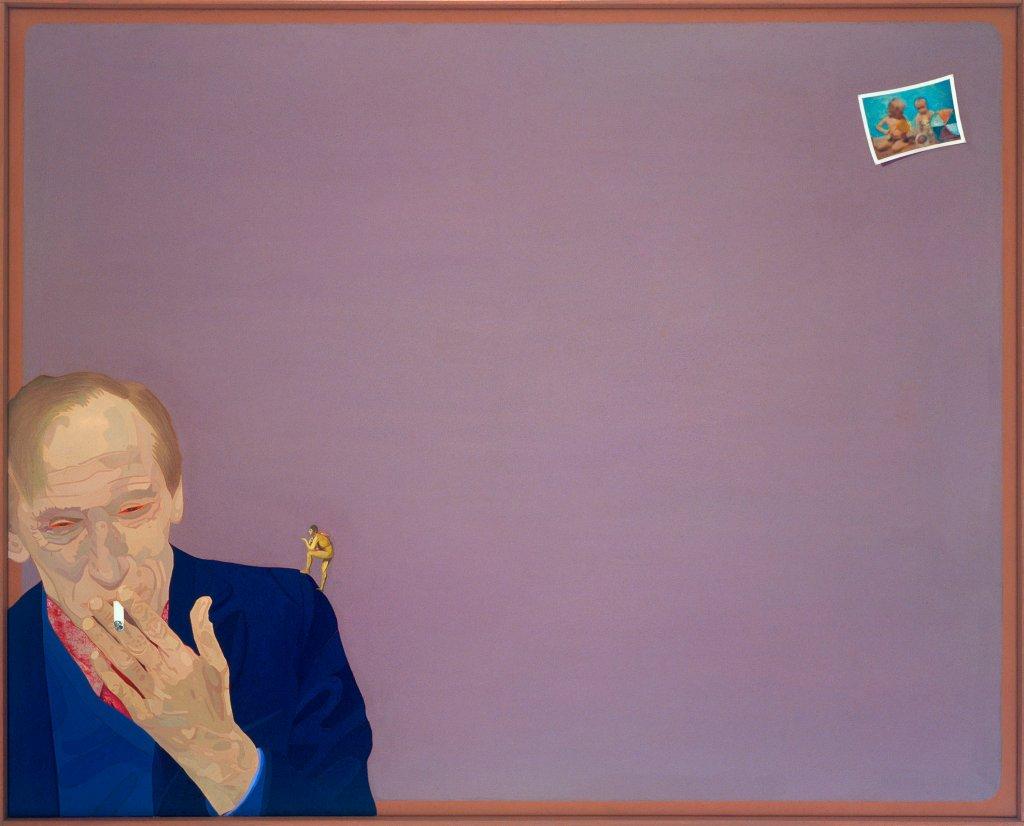 Ewa Kuryluk: Między 50 a 5 / Between 50 and 5, 1978, akryl i kolaż na płótnie / acrylic and collage on canvas, wł. Ewa Kuryluk / Fot. Muzeum Narodowe w Krakowie