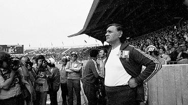 Kazimierz Górski podczas meczu Polska - Argentyna, Mundial '74