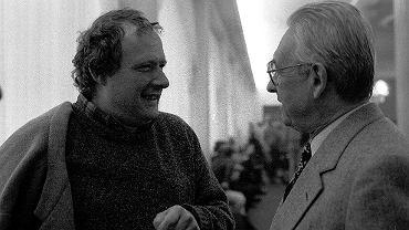 Adam Michnik i Andrzej Wajda w Sejmie w 1990 roku