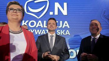 Warszawa, wieczór wyborczy w sztabie Koalicji Obywatelskiej.