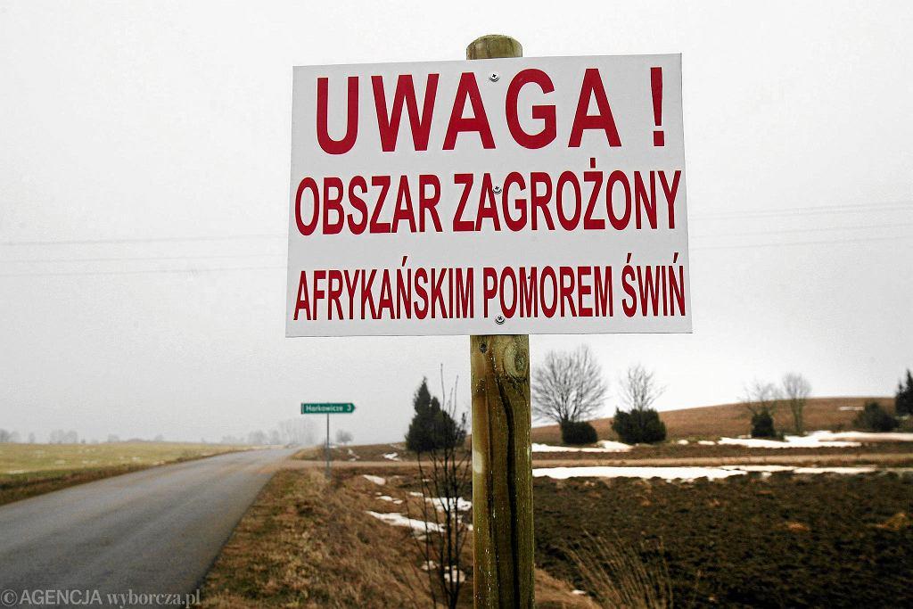 Obszar zagrożony ASF (afrykański pomór świń) w gminie Szudziałowo (luty 2014)