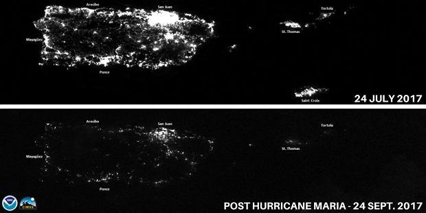Portoryko i okoliczne wyspy na nocnym zdjęciu satelitarnym przed i po przejściu wrześniowych huraganów