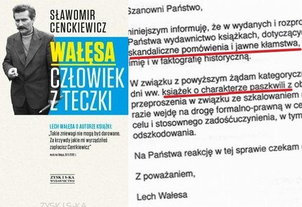 Okładka książki Cenckiewicza i fragment listu Lecha Wałęsy