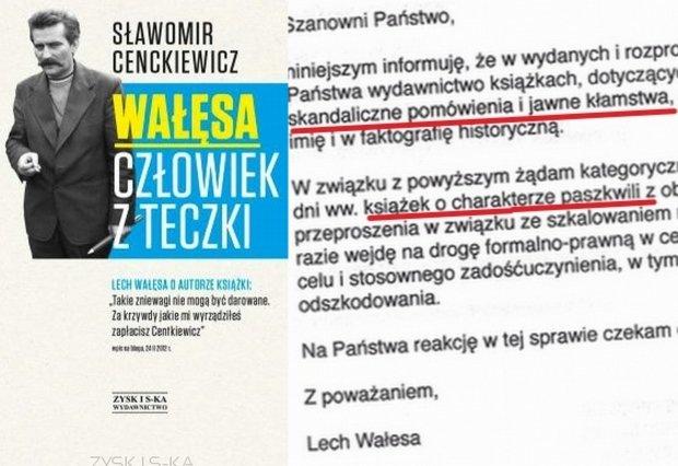 Ok�adka ksi��ki Cenckiewicza i fragment listu Lecha Wa��sy