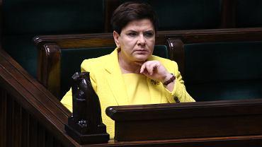 Beata Szydło podczas debaty nad wnioskiem o wotum nieufności dla 'jej' gabinetu. Wniosek przepadł w głosowaniu. Wieczorem tego samego dnia premier rządu PiS odwołała jej własna partia. Warszawa, 7 grudnia 2017