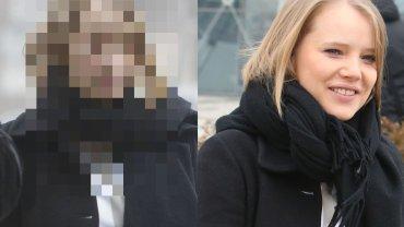 """Fotoreporterzy czekali pod gmachem TVP na gwiazdy, które szły na nagranie do """"Pytania na śniadanie"""". Jedną z nich była Joanna Kulig. Zrobiono jej zdjęcia przed i po wizycie w studio."""