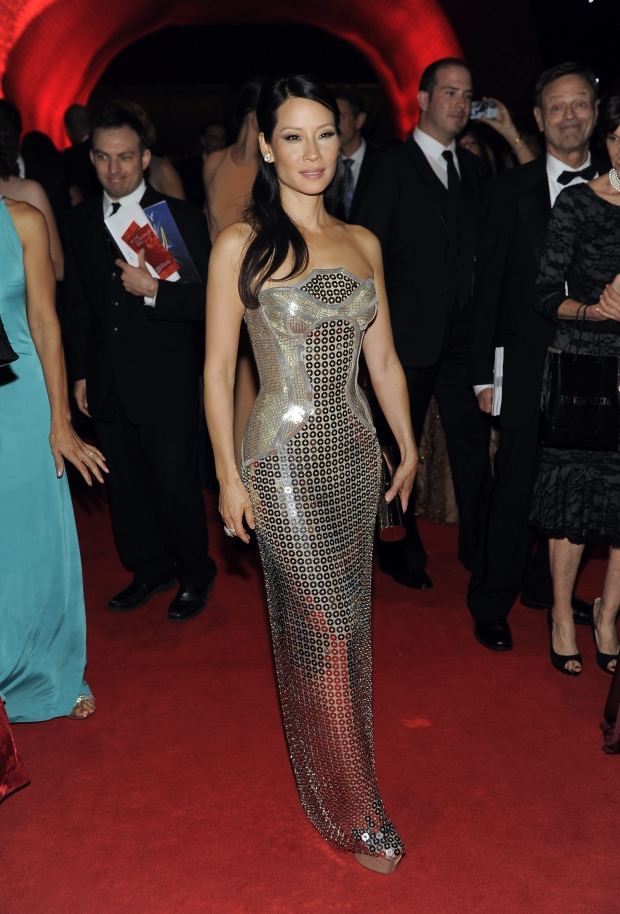 Lucy Liu arrives at the 64th Primetime Emmy Awards Governors Ball on Sunday, Sept. 23, 2012, in Los Angeles. (Photo by Chris Pizzello/Invision/AP)