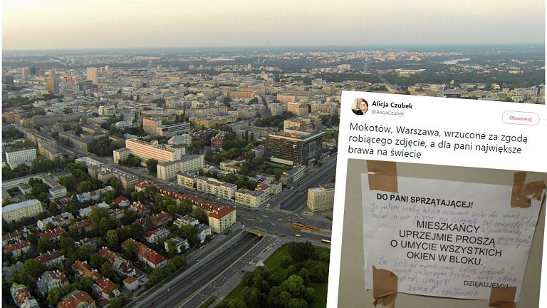Prośba mieszkańców z komentarzem, widok na Warszawę