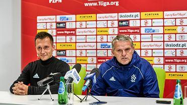 Łukasz Piątek i trener ŁKS Kazimierz Moskal