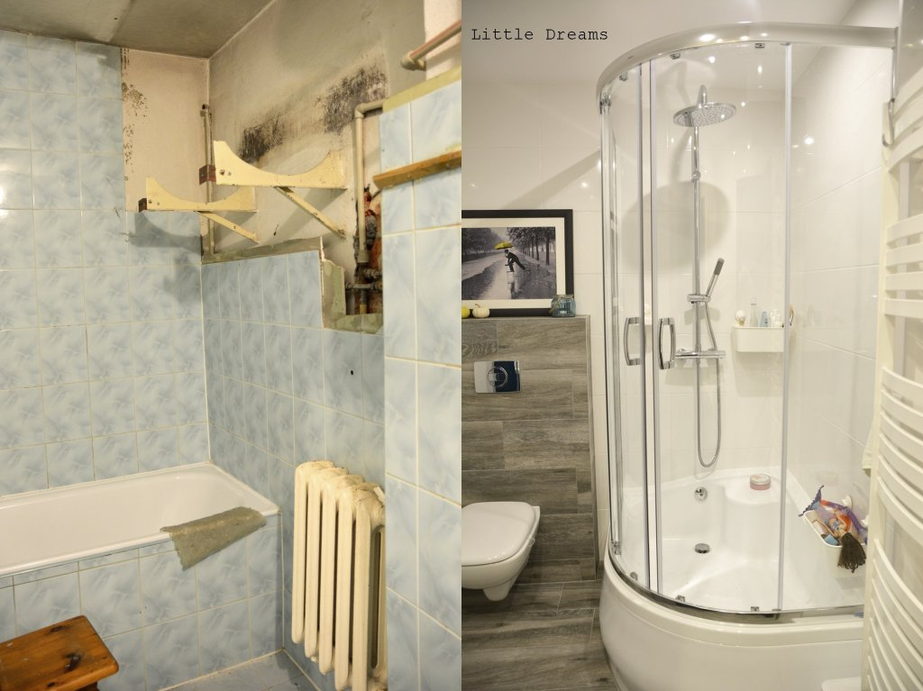 Łazienka przed metamorfozą i po niej