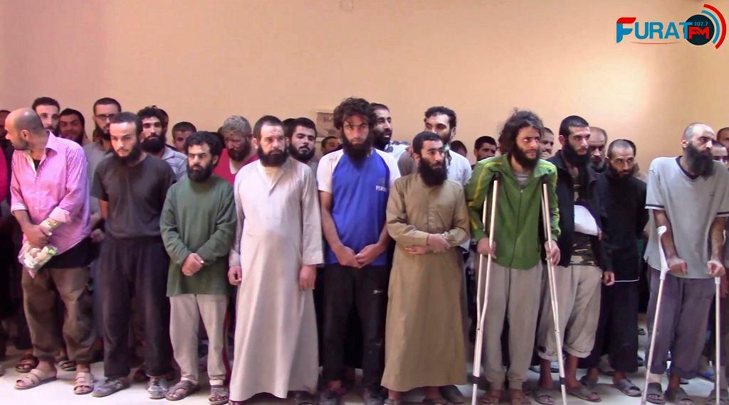 Bojownicy Państwa Islamskiego, którzy poddali się siłom kurdyjskim