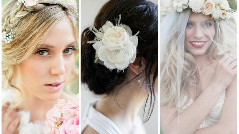 Fryzury ślubne z wykorzystaniem kwiatów
