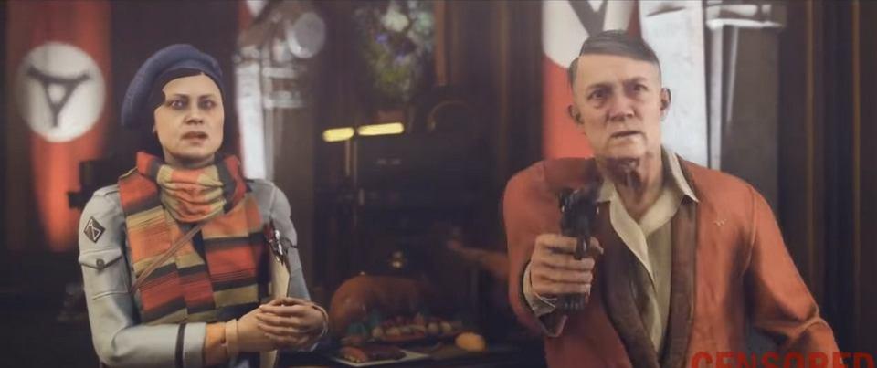 Adolf Hitler i swastyka w niemieckiej wersji gry 'Wolfenstein II: The New Colossus'