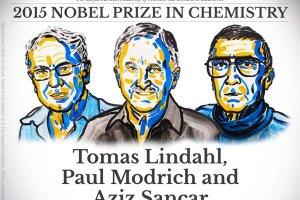 Nagroda Nobla 2015 z chemii za badania nad mechanizmami naprawy DNA dla Tomasa Lindahla, Paula Modricha i Aziza Sancara