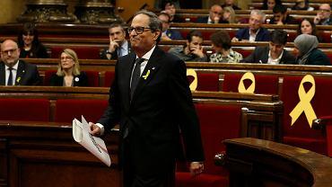 Parlament w Barcelonie zatwierdził Quima Torrę jako nowego premiera Katalonii, 14 maja 2018 r.