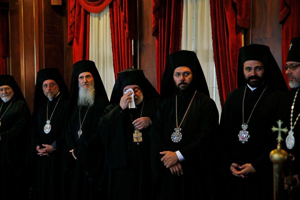Cerkiewni hierarchowie czekają na spotkanie z patriarchą Bartłomiejem. Stambuł, 31 sierpnia 2018 r.