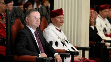 Profesor Bogdan Machaliński i prezydent Andrzej Duda podczas uroczystej inauguracji roku akademickiego na PUM