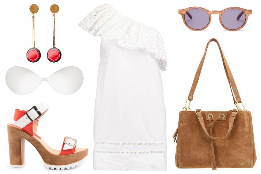 Kolaż Avanti24 / Biustonosz samonośny w stylizacji z sukienką na jedno ramię / Materiały partnera