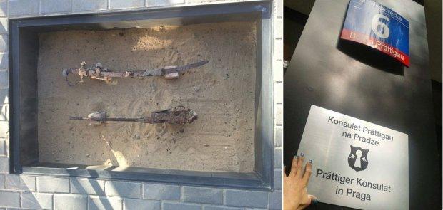 Szabla i karabin Mauser znalezione na Pradze