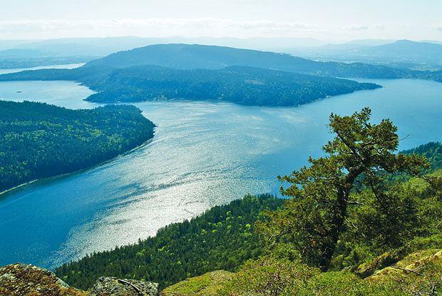 Podróże: na skraju raju czyli Kolumbia Brytyjska, ameryka północna, podróże, Ze szczytu Mount Maxwell roztacza się widok na zatokę, ocean i sąsiednie wysepki.